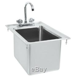 10 x 14 x 10 16-Gauge Stainless Steel One Drop-In Sink with 8 Gooseneck Faucet