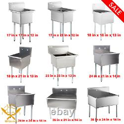 16-Gauge Stainless Steel One Compartment Commercial Utility Sink MULTIPLE SIZES