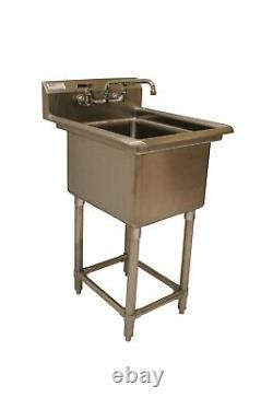 16x20x12 Bowl 16 Gauge Stainless Steel One Compartment Commercial Sink