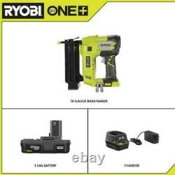 18-Volt ONE+ Lithium-Ion Cordless AirStrike 18-Gauge Brad Nailer with (1) 1.5 Ah