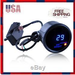 2 52mm Black Cover Car Digital Blue LED PSI Turbo Boost Gauge Meter Universal