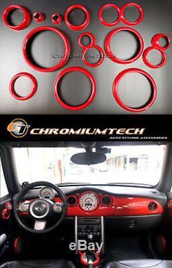 2001-2006 BMW MINI Cooper/S/ONE R50 R52 R53 Red Interior Dial Trim Kit 12pc