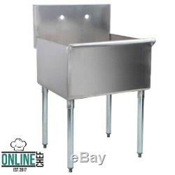 24 x 24 x 14 One Compartment Utility Sink Bowl 430 Stainless Steel 16 Gauge