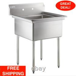 29 1/2 18 Gauge Stainless Steel One Compartment Commercial Sink No Drainboard