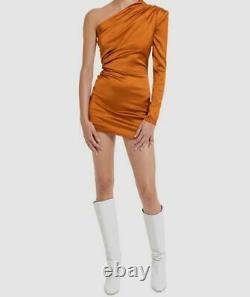 $530 Gauge81 Women's Orange Long Sleeve One Shoulder Mini Dress Size Medium