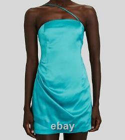$570 Gauge81 Women's Blue Sleeveless One Shoulder Satin Bodycon Dress Size XS