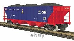 70-75056 MTH ONE GAUGE Norfolk Southern #76624(Veterans) 4-Bay Hopper Car withCoal