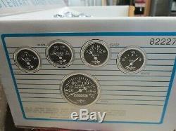 82227 Stewart Warner WINGS 5 Gauge Set Mech/Elect with BLACK Gauge Dials-LAST ONE
