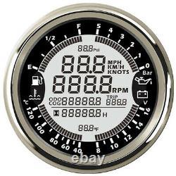 85mm 6in1 Car GPS Speedometer Tachometer Water Temp Oil Pressure Voltmeter Gauge
