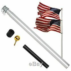 A-ONE 20FT Extra Thick Telescopic American Flag Pole, Heavy Duty 16 Gauge