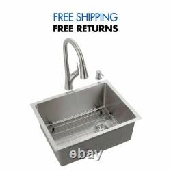 All-in-One Stainless Steel 23'' 18-Gauge Single Bowl Kitchen Sink by Glacier Bay