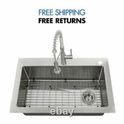 All-in-One Tight Radius Stainless Steel 33''18-Gauge Single Kitchen Sink GLACIER