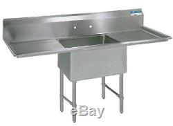 BK Resources 18x18x14 One Compartment 16 Gauge Stainless Steel Sink
