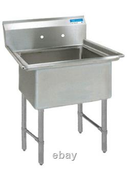 BK Resources 24x24x14 One Compartment 16 Gauge Stainless Steel Sink