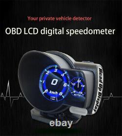 Car Digital OBD2 Speedometer HD LCD Head Up Display Overspeed KM/H Warning Alarm