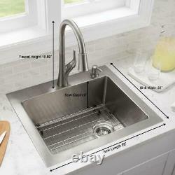 Glacier Bay All-in-One Tight Radius 18-Gauge 2-Hole Single Bowl Kitchen Sink