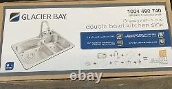 Glacier Bay Brushed Stainless Steel 18-Gauge All-In-One Double Bowl Kitchen Sink