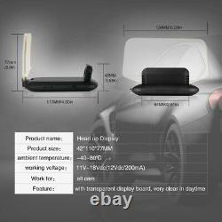 Head Up Display Speed Alarm/RPM/Voltage Hud OBD2 GPS Projector Fault Code Scan