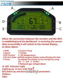LCD Car Race Dash Gauge Sensor Kit Dashboard 9000rpm Rally Gauge Multi-function