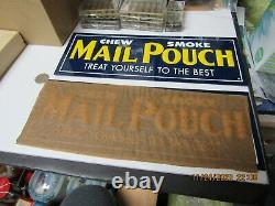MAIL POUCH TOBACCO HEAVY GAUGE 2 TIN EMBOSSED ADVERTISING SIGNS ONE WithPAPER NOS