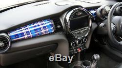MK3 MINI Cooper/S/ONE/JCW F55 F56 F57 Blue Tartan Dashboard Panel Trim Cover