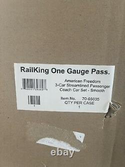 MTH 70-65035 G Gauge RailKing One Gauge 3-Car Streamlined Passenger Car Set NEW