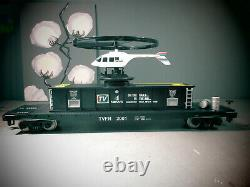 MTH 70-79013, G Scale / One Gauge, CHANNEL 4 NEWS Operating Helicopter Car NEW