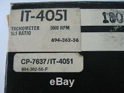 NOS Vintage Sun Tachometer IT-4051 5000 RPM 12v One Piece In Original Box