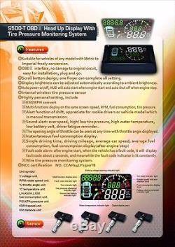 OBD II HUD + ORO TPMS Kit Wireless Tire Pressure Monitoring System, all in one