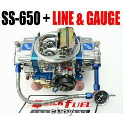 Quick Fuel Ss-650 Cfm Gas Mech Carb #6 Blue Color Free Line Kit Gauge Last One