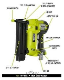 RYOBI 18-Volt ONE+ Cordless AirStrike 18-Gauge Brad Nailer (Tool Only) Tools