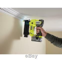 RYOBI 18-Volt ONE+ Cordless AirStrike 18Gauge Brad Nailer Tool Only Sample Nails