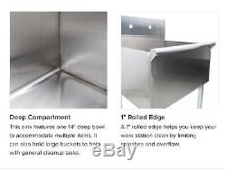 Regency 24 16-Gauge Stainless Steel One Compartment Commercial Utility Sink 2