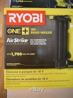 Ryobi 18 Volt ONE+ 18 Gauge Cordless Brad Nailer. NEW. Withnails, b-clip. Ships Fast