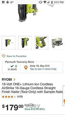 Ryobi 18-Volt ONE+ Cordless AirStrike 16-Gauge Cordless Straight Finish Nailer