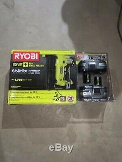Ryobi P320 18V ONE+ AirStrike 18-Gauge Cordless Brad Nailer Plus New Batteries
