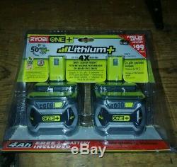 Set of 2 Ryobi P108 Lithium Battery 18V One+ High Capacity 4Ah WithFuel Gauge P122