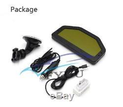 Universal Car Dash Race OBD2 Bluetooth Dashboard LCD Digital Gauge to 7000RPM