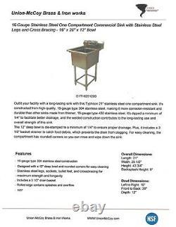 16x20x12 Bol 16 Gauge Acier Inoxydable Un Compartiment Évier Commercial