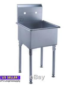 18 Calibre 16 Un Acier Inoxydable Compartiment Commerce Restaurant Mop Prep Sink