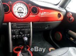 2001-2006 Bmw Mini Cooper / S / One R50 R52 R53 Rouge Intérieur Cadran Garniture Kit 12pc