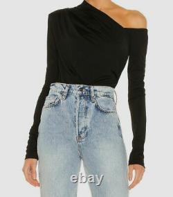$285 Gauge81 Noir Manches Longues Pour Femmes Une Épaule Sandovo Bodysuit Taille M