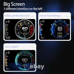 3.5in Double Écran Smart Obd2+gps Numérique Hud Jauge Tête Vers Le Haut Affichage Compteur De Vitesse