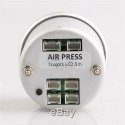 52 MM 7couleurs Jauge De Pression De Suspension Pneumatique Bar Psi Air Ride Gauge 1 / 8npt Capteurs