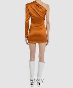 530 $ Gauge81 Femme Orange Manches Longues Une Épaule Mini Robe Taille Moyenne