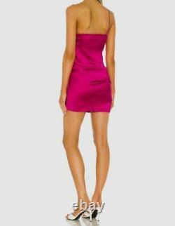 570 $ Gauge81 Femme Rose Sans Manches Une Épaule Satin Bodycon Taille Grande