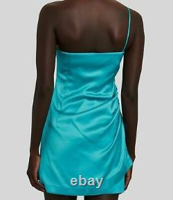 570 $ Gauge81 Robe De Bodycon Satin Une Epaule Bleu Sans Manches Femmes Taille Xs