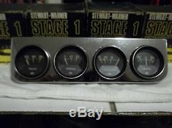 60s 70s Vintage Stewart Warner Première Étape Guages et Quatre Panneaux Chrome Mont
