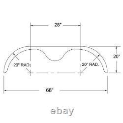 68x10 3/4 Tandem Essieu 16-gauge Steel Trailer Fender (un Aile)