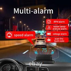 Affichage De La Vitesse De La Tête Vers Le Haut Alarme/rpm/venttage Hud Obd2 Gps Projector Fault Code Scan